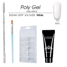 4pcs/set Poly Gel Set Nail Extension Builder Clear Hard Jelly 15ml Solution French Tips Kit