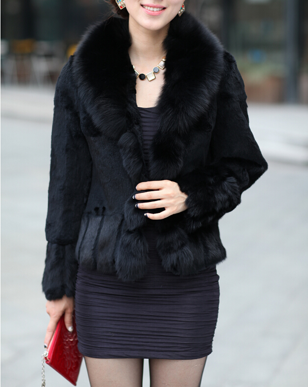 Luxury real rabbit fur coat with natural fox fur collar Jacket women real fur coat DFP503