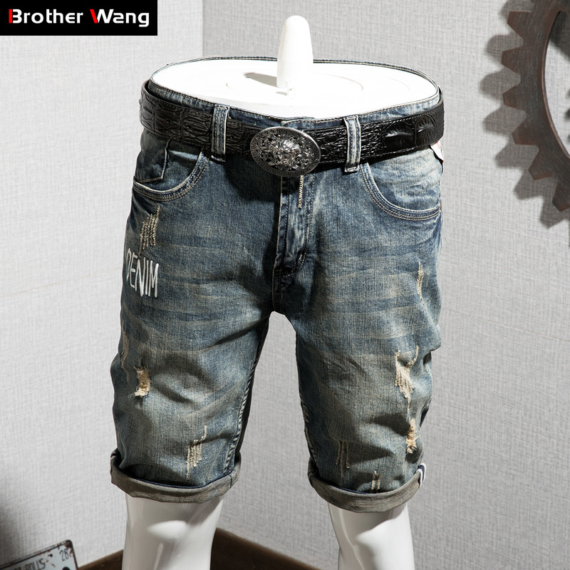 Denim Shorts Jeans Elastic-Force Men's Summer Casual Fashion Brand New Male Retro Ripped