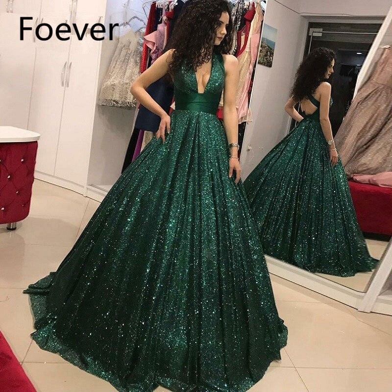 Paillettes vert brillant robes de bal élégant col en V profond robe de bal de fête robes de bal de formatura longo 2019