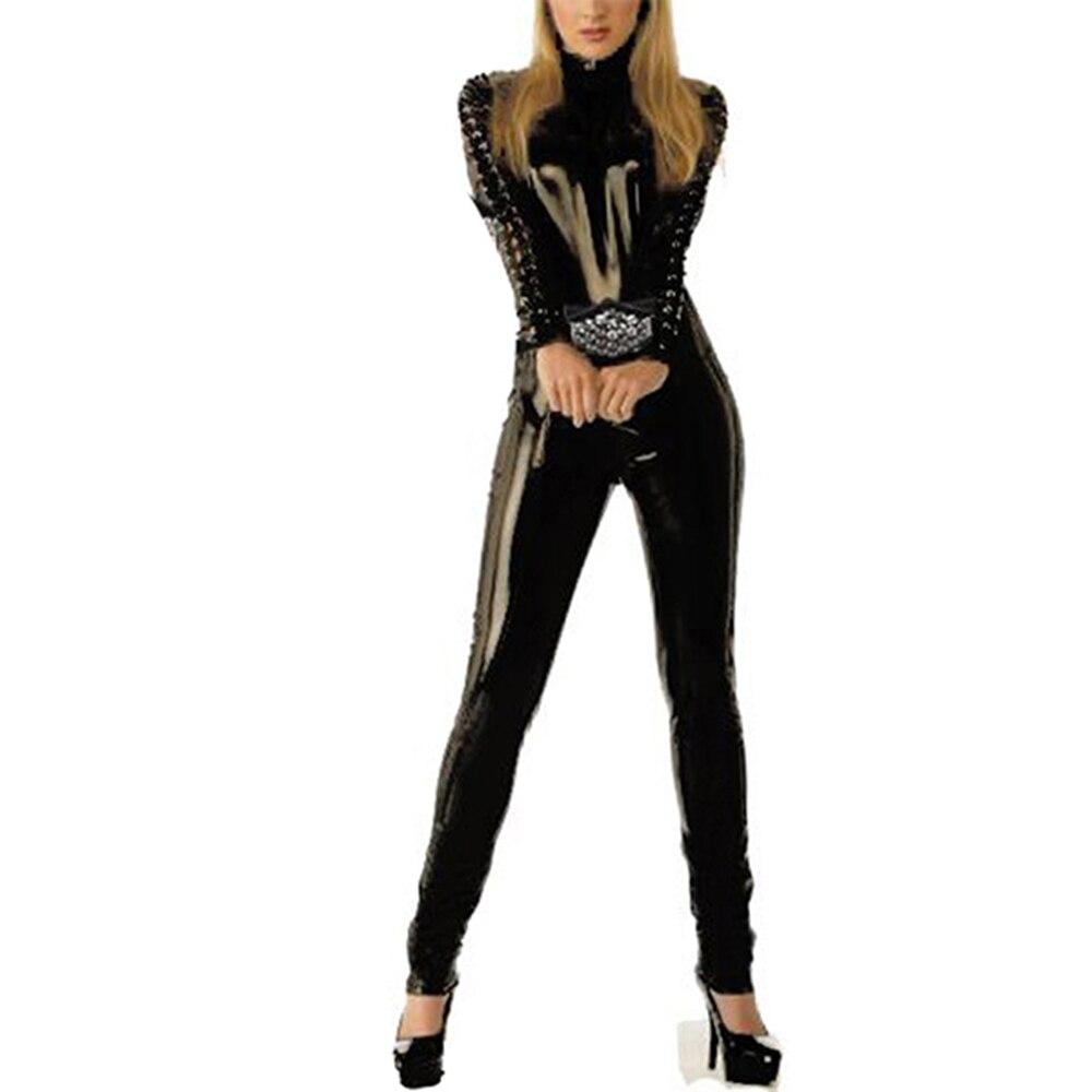Wonder beauty black jumpsuit Vinly Faux Leather Playsuit women catsuit exotic club wear Sexy open crotch jumpsuit W7826