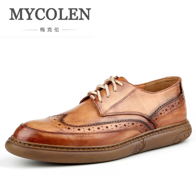 MYCOLEN New Arrivals Shoes Men High Quality Lace-Up Classic Leather Brogue Luxury Designers Fashion Business Dress Shoes Men yween new men brogue dress shoes with lace up business leather shoes large size