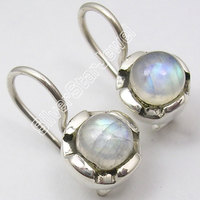 Chanti International Pure Silver Authentic RAINBOW MOONSTONE Earrings 3/4 inches WOMEN'S JEWELRY
