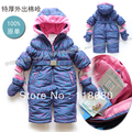 Free shipping Retail new 2014 winter rompers baby clothing infant overall baby girl cotton rompers kids thicke warm jumpsuit