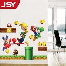 Jiangs Yu 1 PC Super Mario game wall stickers funny Bros 3d vinyl decals kids room decoration cartoon wallpaper