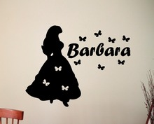 Princess Silhouette Personalized Girl Name Decal butterflies Interior Wall Art Mural Vinyl Waterproof Custom DIY Pattern SYY317