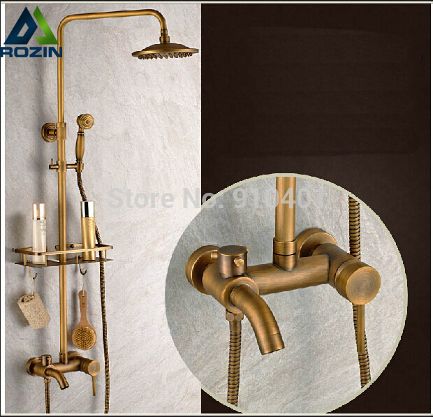 Brass Antique Wall Mount Shower Set Faucet Single Handle