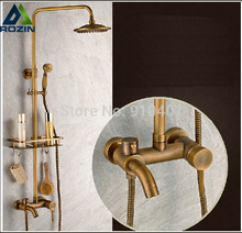 Brass Antique Wall Mount Shower Set Faucet Single Handle with Handshower + Shelf Bathroom Shower Mixer Tap