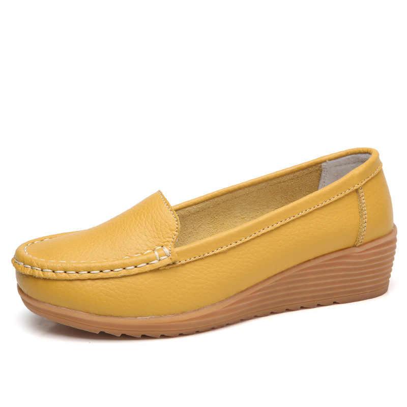 2020 รองเท้าสตรีรองเท้าหนังแท้รองเท้าผู้หญิงรองเท้าส้นสูงผู้หญิง Loafers บัลเล่ต์แบนรองเท้าฤดูใบไม้ผลิ Chaussures Femme 4.3 ซม.