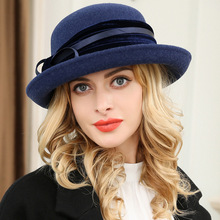 Autumn Winter New Women #8217 s Fedoras Hat Fashion Bowknot Wool Felt Basin Fedora Cap Ladies Church Party Show Elegant Hats H6852 cheap ANLUXFIER Adult Casual Solid Spot stock Dome Adjustable Female Short eaves Spring autumn winter