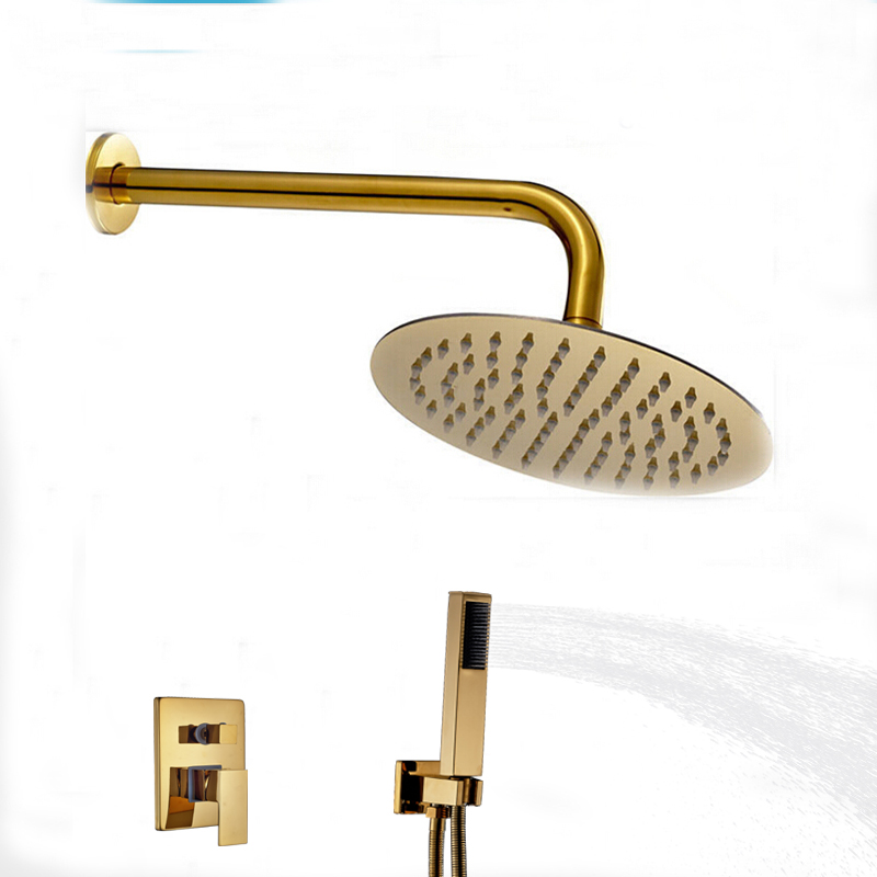 Wholesale And Retail Wall Mounted Round Golden Brass Shower Arm Shower Valve Mixer Tap w/ Hand Shower 3 PCS