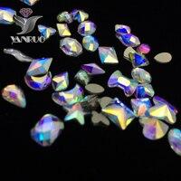 YANRUO Mix Kryształ AB Glitter Kryształ 3d DIY Nail Art Mieszkanie Powrót Cyrkonie Do Paznokci Ozdoby Fancy AB Dżetów