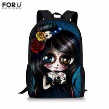 FORUDESIGNS Women Backpacks Sugar Skull Printing Bookbag Casual Rucksack Children Schoolbag Korean Style Daypack For Teen Girls