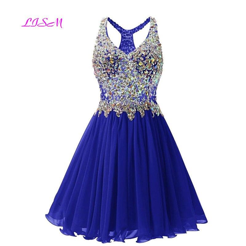 Cristaux bleu Royal Mini robes de retour paillettes perlées corsage courte robe de bal en mousseline de soie robes de Graduation robes de formatura