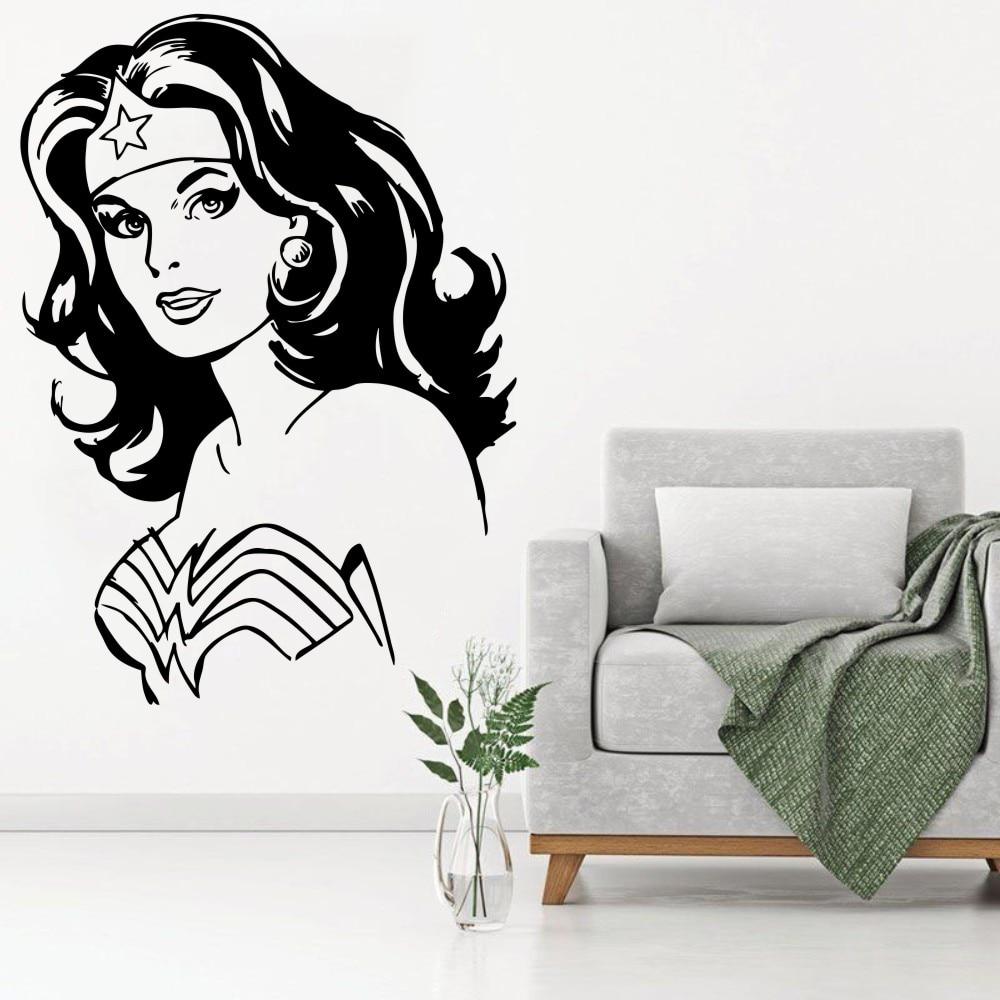 Us 4 72 25 Off Wonder Woman Wall Decal Vinyl Sticker Marvel Comics Superhero Kids Room Decoration Living Nursery Cartoon Decor Ww 68 In