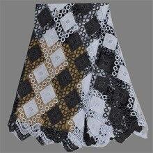 Beliebte design EW106-7 (5 yards/lot) weiß + schwarz Afrikanischen stickerei wasserlösliche spitze stoff für abendkleid kleid