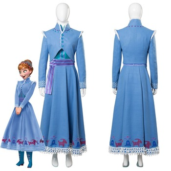 2018 Olaf's Adventure Princess Anna Cosplay Costume Adult Women Girl Dress Halloween Cosplay Costume
