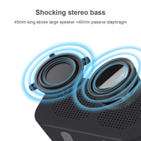 Wireless Bluetooth Speaker Subwoofer Music Sound Box LED Time Snooze Alarm Clock for PC Phone J2Y