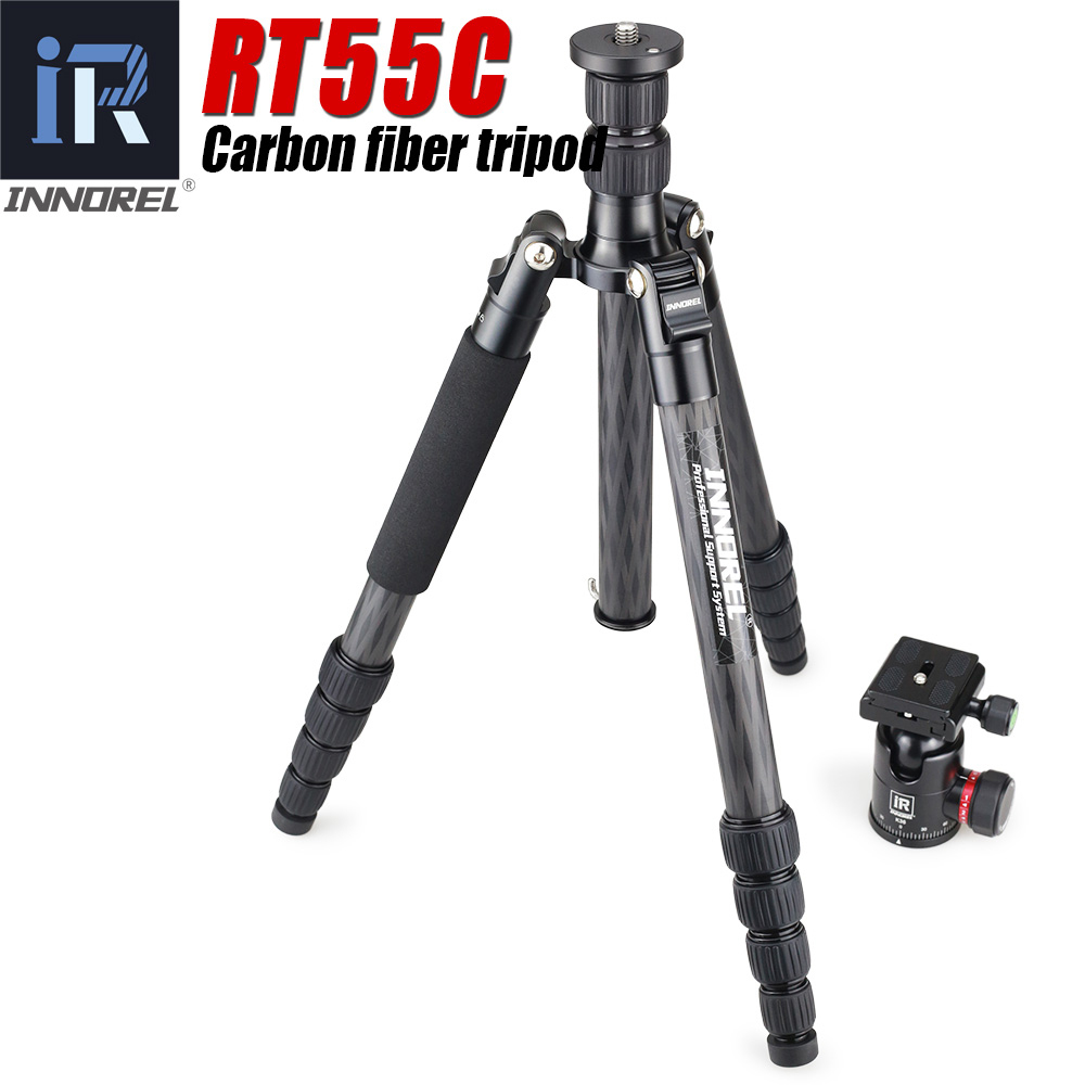RT55C Professional carbon fiber camera tripod 12kg bear video travel portable DSLR tripod 5 Sections ball head for CANON NIKON-in Tripods from Consumer Electronics