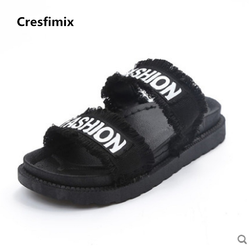 Cresfimix sandalias de mujer women fashion spring and summer sandals with letter printed female cool and soft thick sole sandals cresfimix women fashion spring