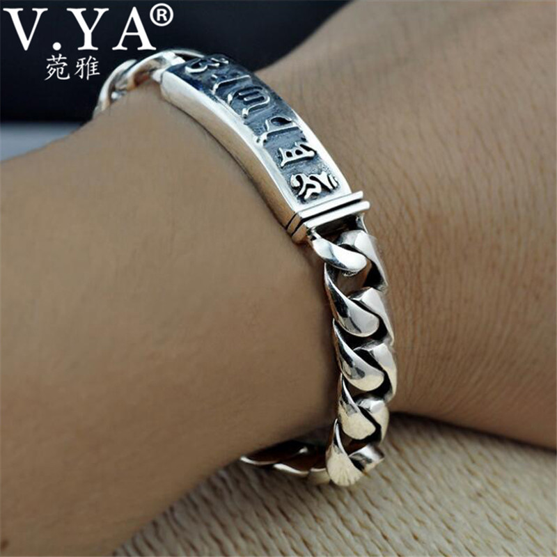 V YA Handmade 925 Sterling Silver Bracelet for Men Male Om Mani Padme Hum Letter Link