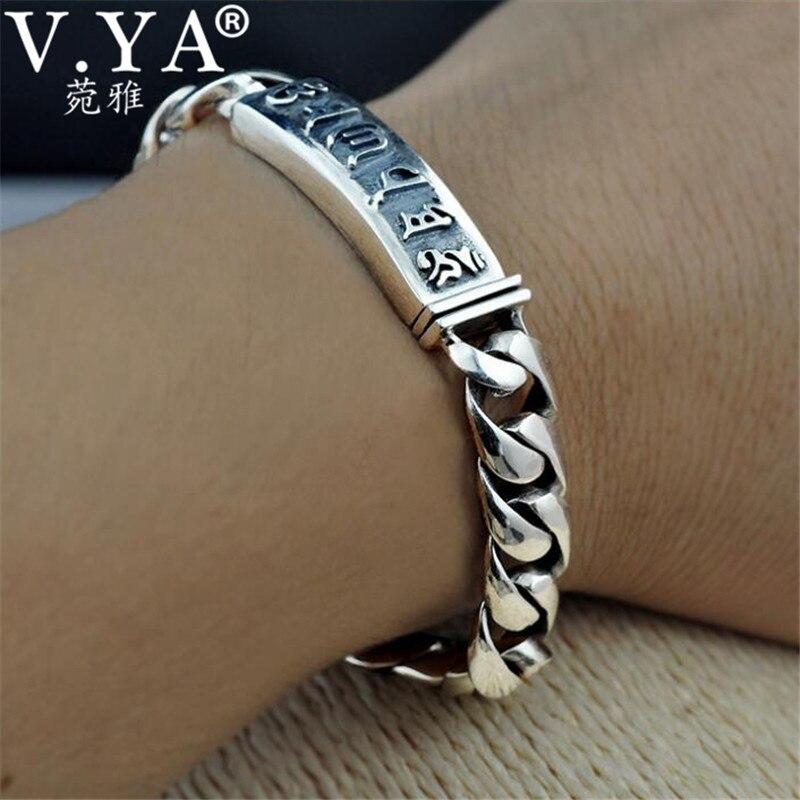 V.YA Handmade 925 Sterling Silver Bracelet for Men Male Om Mani Padme Hum Letter Link Bracelets Best Gift