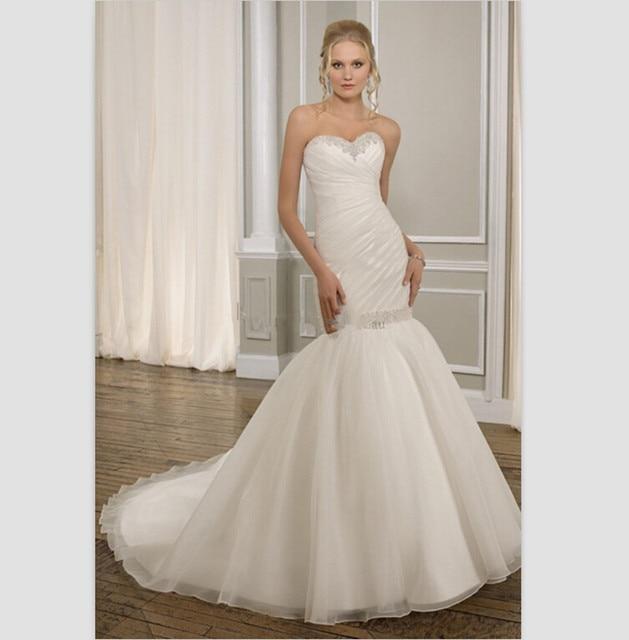blanco satinado vestidos romatic amor moldeado vestido de novia 2015