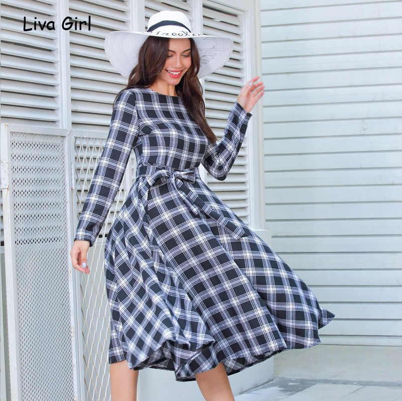 Винтажное зимнее клетчатое элегантное вечернее платье с круглым вырезом и длинным рукавом с поясом длинное хлопковое Ретро женское платье feminino vestidos