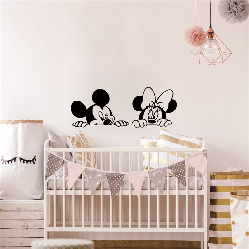 US $4.65 20% OFF|Cartoon Wall Stickers Kids Bedroom Art Decor Cute Mickey  Minnie Mouse Baby Nursery Art Vinyl Wall Decals-in Wall Stickers from Home  & ...