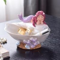 Nordic Porch Mermaid Key Storage Box Ornaments Creative Cute Jewelry Box Living Room Desk Home Decorations M1122