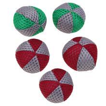 5pcs/Pack 4cm Pet Balls Cat Teething Anti Bite Chew Chase Toys Mesh Cloth Balls Resistance To Bite Molars Toys Pet Supplies