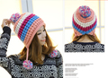 Korean Cute Autumn Winter Warm Color Mosaic Knitted Hat Ear Muff 100% Handmade Women Beanie Ski Cap Outdoor