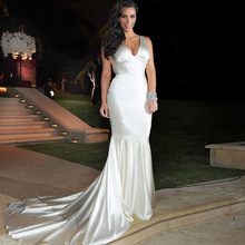 Ivory Long Prom Dresses For Formal Party 2016 Cheap Mermaid Soft Satin Long Dress Slim Fishtail Robe De Soiree EE17