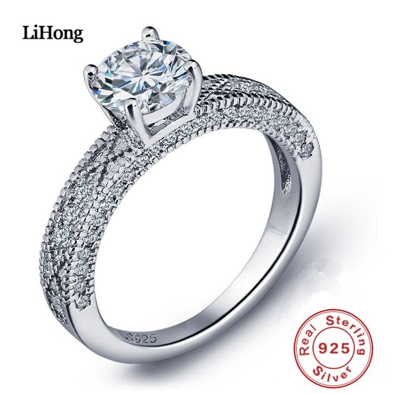 100% 925 Silber Ring Aaa Zirkon Kristall Ring Luxus Klassische Vier-prong Silber Ring Frau Engagement Ring Geschenk GroßE Vielfalt