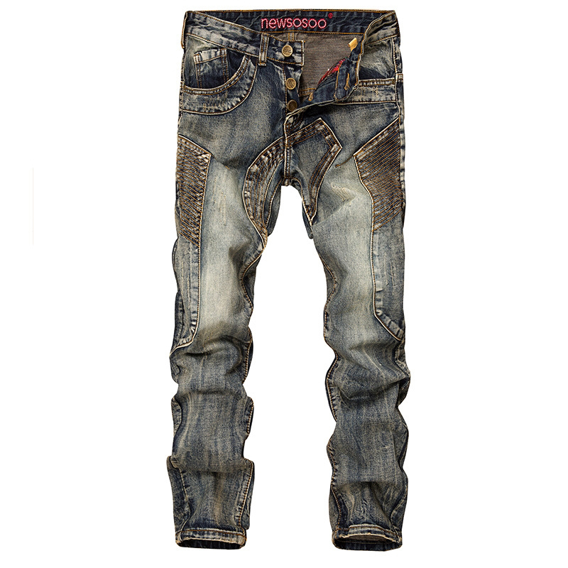 New Men's Straight Jeans Autumn Winter Designer Fashion Retro Slim Stitching Holes Plus Size Jeans Men Pants BF6001