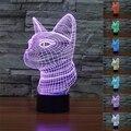 3D gato Siamês Ilusão Lâmpada 7 Cores Mudando Luzes Gato Botão de toque Tabela Night Light para Home Decor Fresco Punk presente