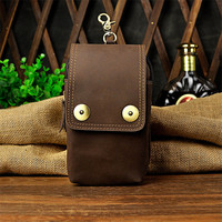 Retro Waist Bags Genuine Leather Men Fanny Pack Belt Bags Phone Pouch Bag Travel Waist Pack