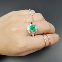 Lii Ji Pt900 Natural 1.19Ct Emerald Diamond Ring CN size NO.12.5