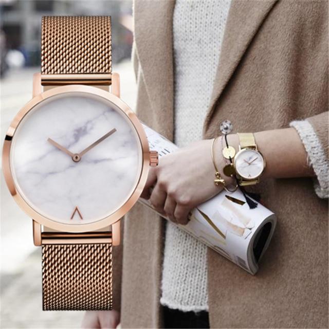 Eutour em ouro rosa pulseira relógios relógio de forma das mulheres ultra fino 2017 senhoras Quentes Relógio de Mármore mulheres Relógio de quartzo relógios de Pulso