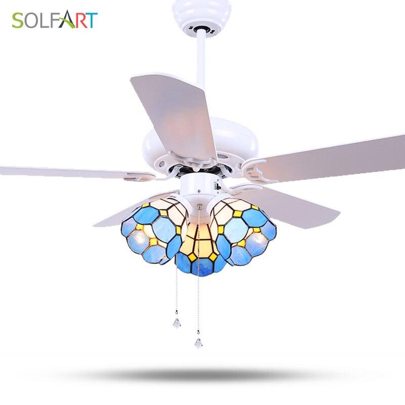 SOLFART Ceiling Fan Crystal Chandelier Invisible Fan Ceiling Fan Remote Control Ceiling Fan Lamps Glass Celling