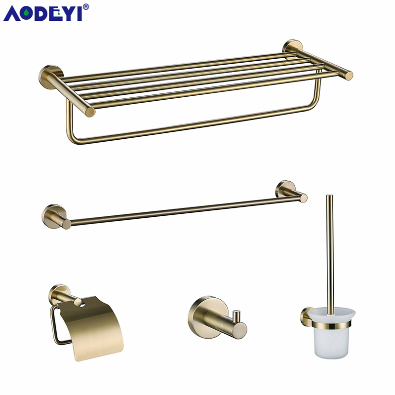 Bad Hardware Bad Hardware Sets Klug Bad Hardware Set Gebürstet Gold Robe Haken Handtuch Schiene Rack Bar Regal Papier Halter Wand Halterung Bad Zubehör Sus 304 Eleganter Auftritt
