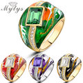 Mytys Fashion Color Ring 4 Color Green Black  Red  Ring For Women R194 R199 R944 R949