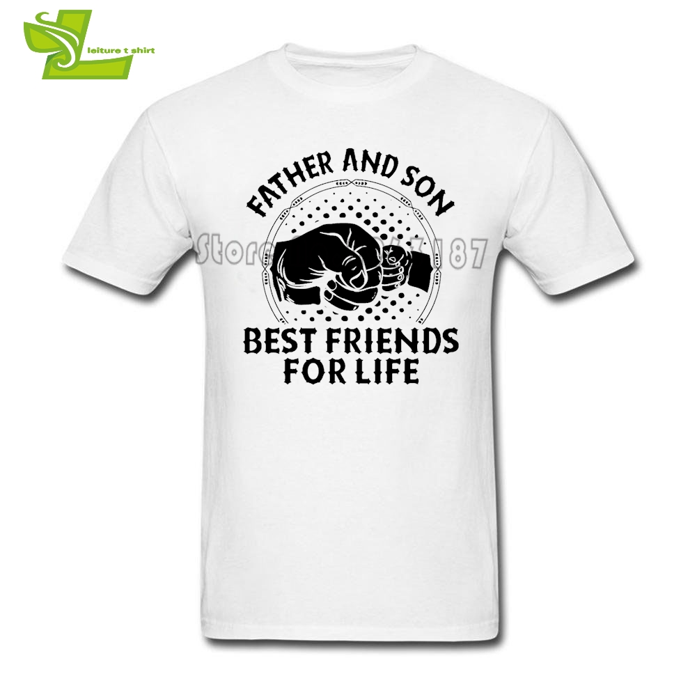 Father And Son Best Friends For Life T Shirt Male Latest Simple Tshirts Casual Loose T-Shirt Mens 100% Cotton Teenboys Tees