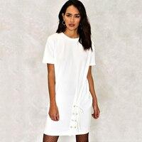 Ngắn tay áo ren up áo sơ mi dresses đối với phụ nữ mùa hè màu trắng thống tunic dresses ladies phong cách màu đen loose oversize tee dresses