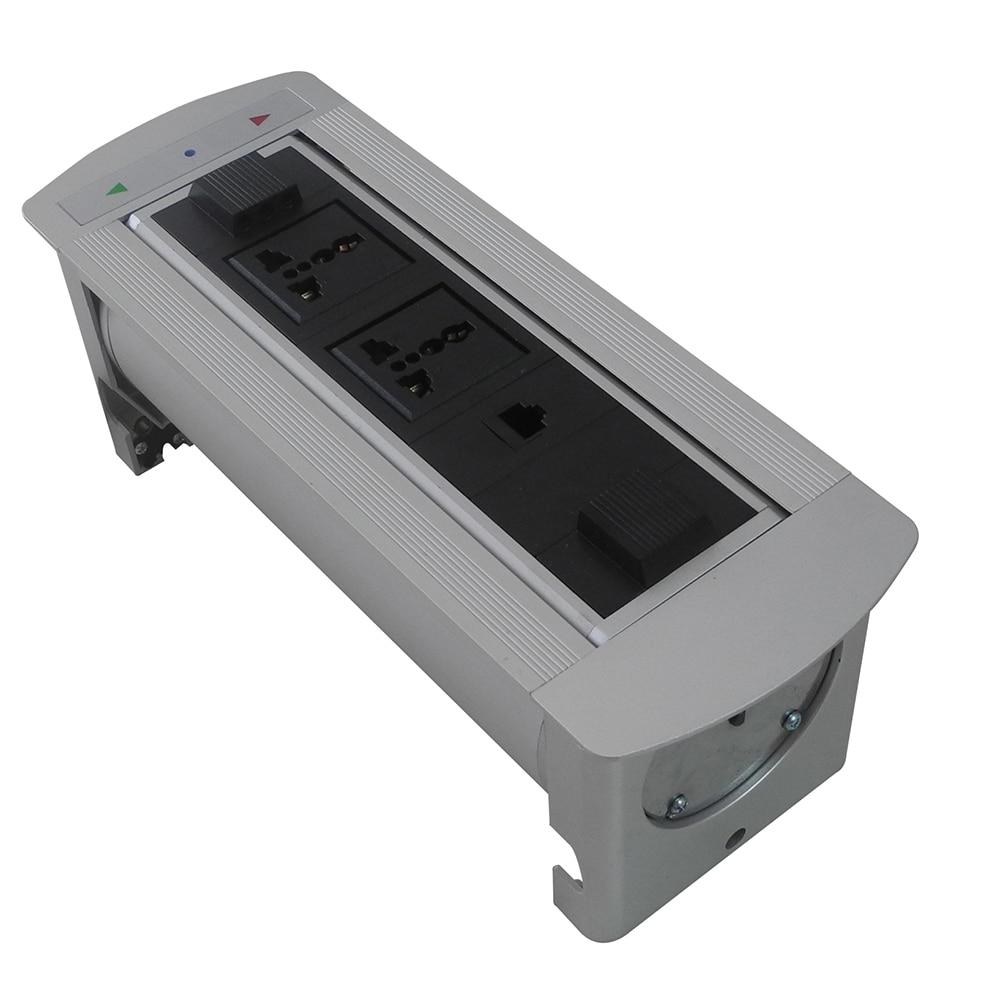 New And Good Quality Flipping Up Motorized Desktop Socket With 2*Universal +1*Rj45 ,Silver/Black asus m4a78 vm desktop motherboard 780g socket am2 ddr2 sata2 usb2 0 uatx second hand high quality