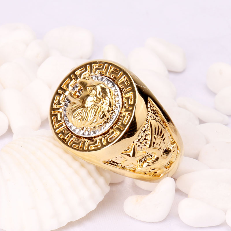 2016 New Fashion Vintage Male Lion Head Punk And Eagle Ring Men Filled Wedding Party Rings For Gift