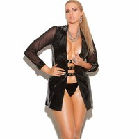 Babydoll Lingerie Sexy Hot Erotic Dress Leather Long Sleeve Front Open See Through Mesh Sexy Underwear Nightwear Women Lingerie