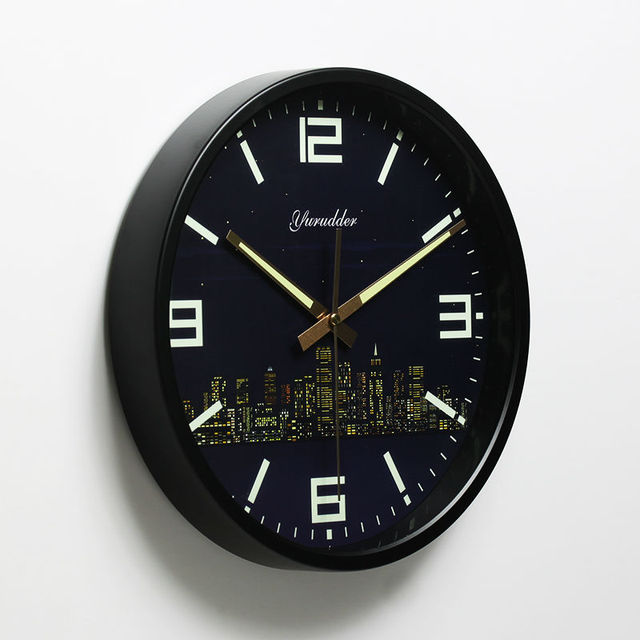 Newest 12 Inches Modern City Design Metal Frame Fashion Round Wall Clock LUMINOVA Decorative Wall clock