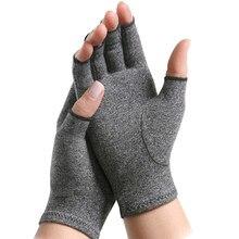1 пара сжатия перчатки при артрите Половина Finger суставах, боли в суставах, перчатки для рук терапии открытыми пальцами компрессионные перча...