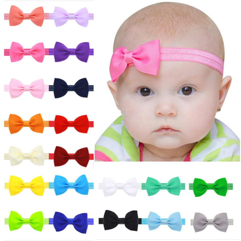 Newest Baby Kids Girl's Fashion Mini Bow Ribbon Elastic Hair Headbands Band Headwear Accessories Wholesale